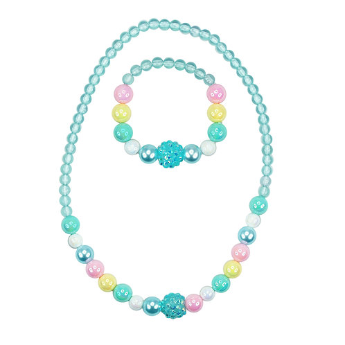 Pink Poppy - Blue - Pastel Dream Necklace & Bracelet Set