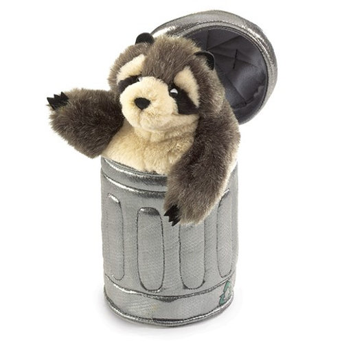 Folkmanis Hand Puppet - Raccoon in Garbage Can