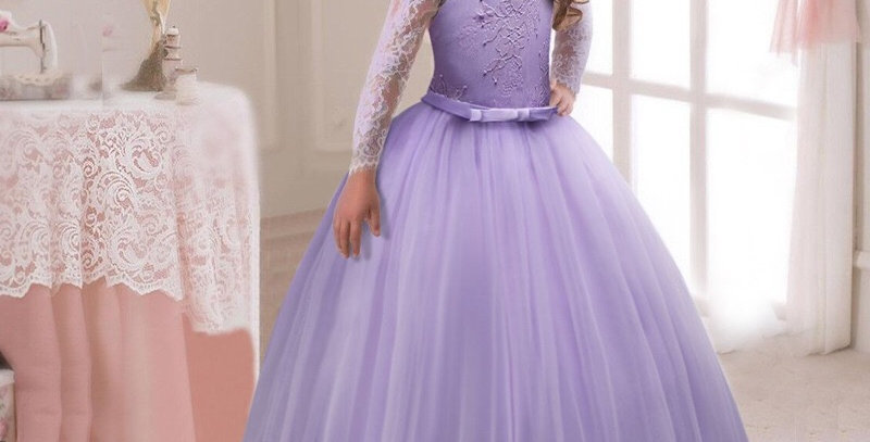 Purple Flower Girl Long Sleeve Dress with Lace Top