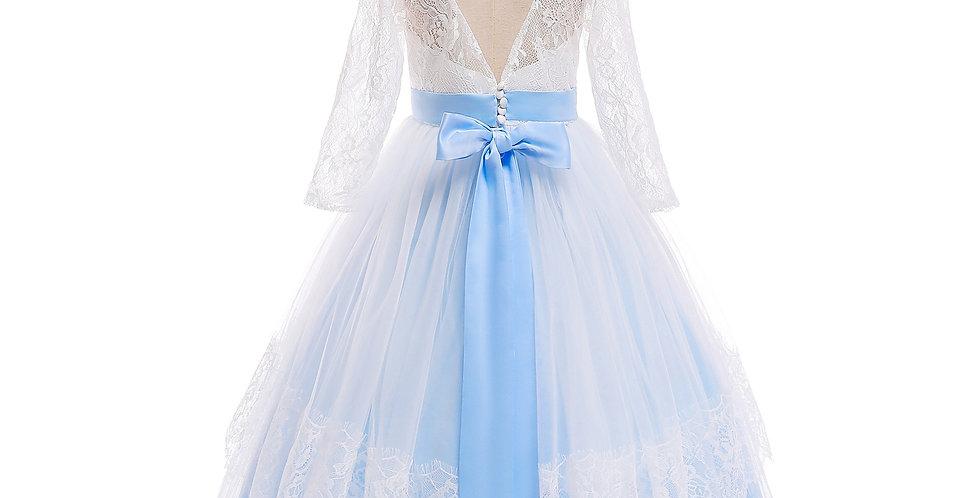 Elegant Jeweled Girl's Ball Gown in Light Blue