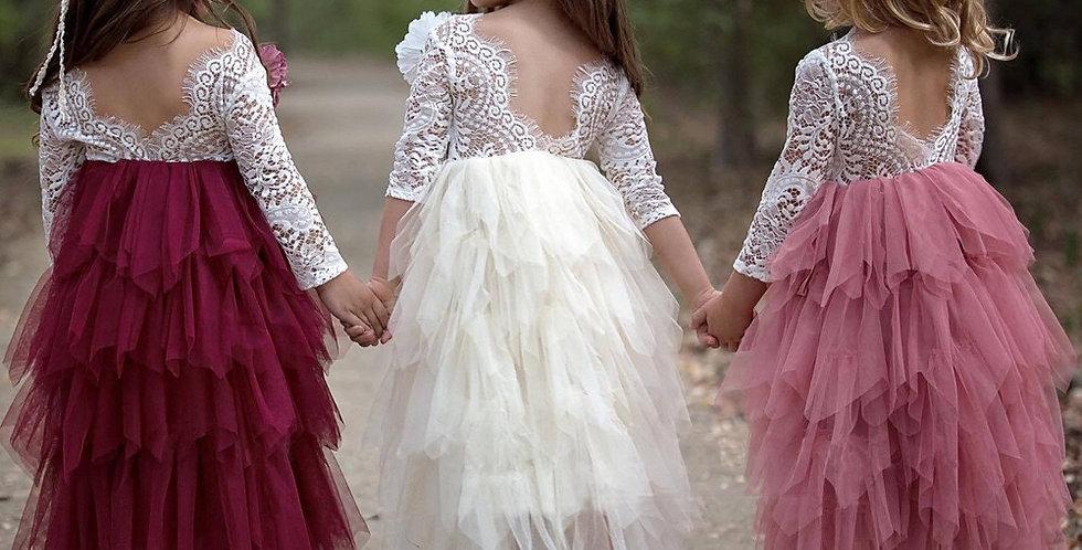 Paradise Long Sleeve Lace Tutu Dress - Red