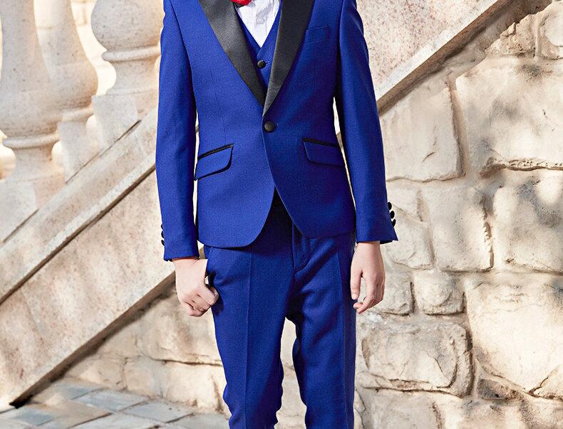Navy-Blue Tuxedo Boys Suits