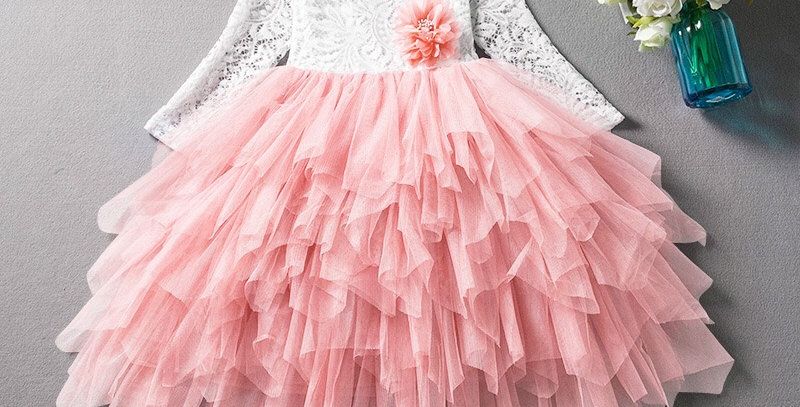 Paradise Long Sleeve Lace Tutu Dress - Pink