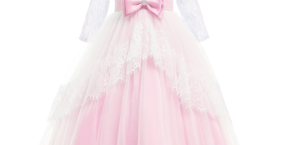 Elegant Jeweled Girl's Ball Gown in Light Pink