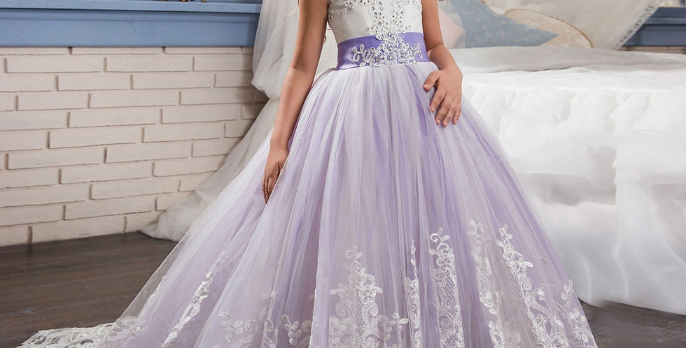 Purple Flower Girl Dress with Diamond Top
