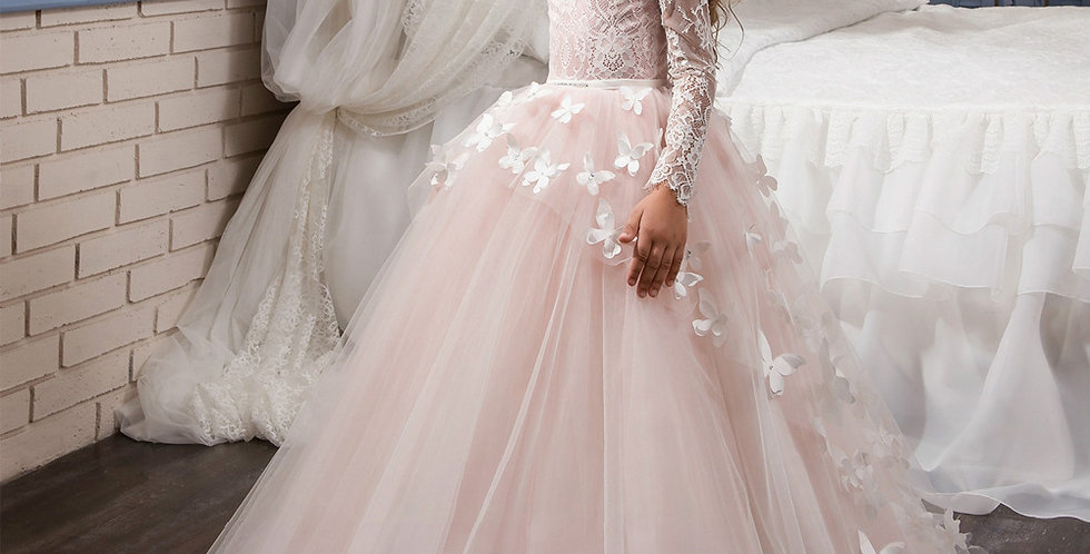 Pink Long Dress with Butterfly Lace