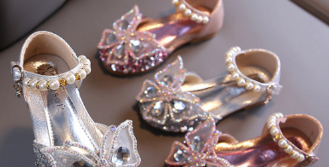 Butterfly rhinestones children  shoes