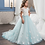 Thumbnail: Light Blue Long Dress With Lace Top