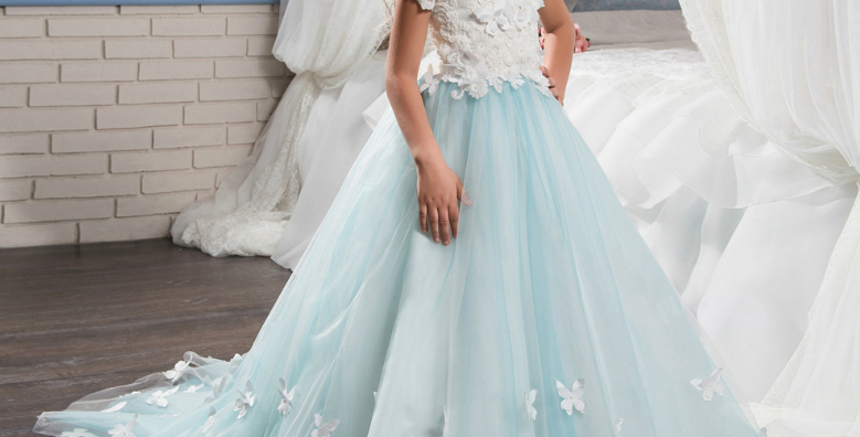 Light Blue Long Dress With Lace Top