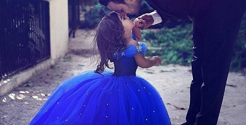 Royal Blue Flower Girl Dresses with Crystals Tutu