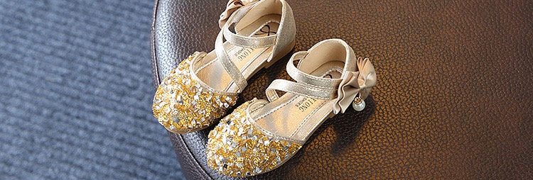 Shining Silver Flower Girls Shoes -Gold