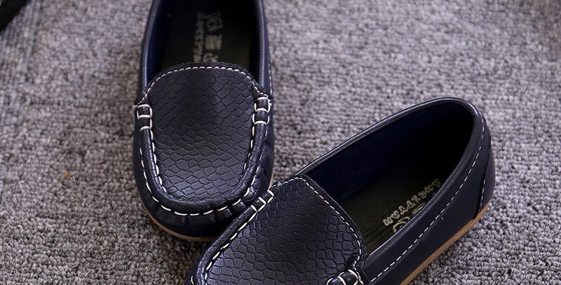 Leather Moccasins - Dark Blue