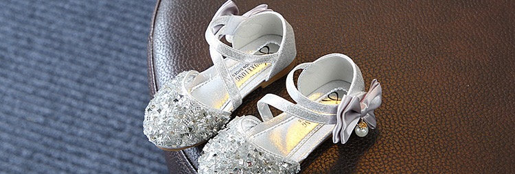 Shining Flower Girls Shoes -Sliver