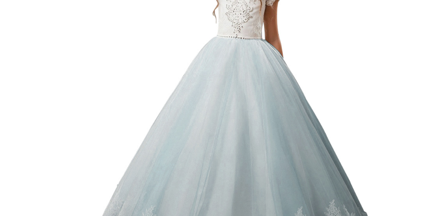 Diamond long lace gown