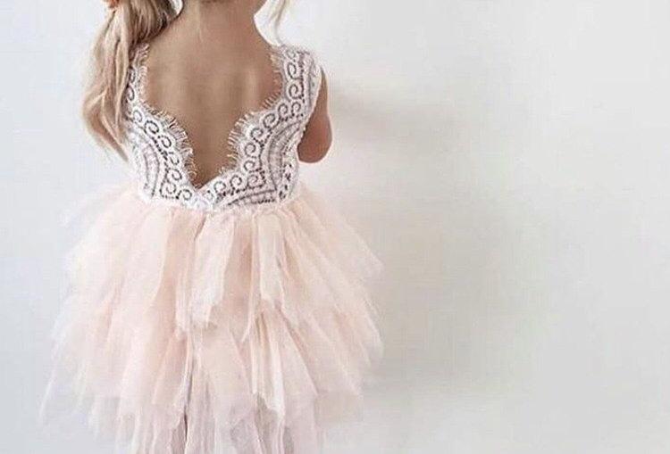Paradise Backless Lace Tutu Dress-Pink