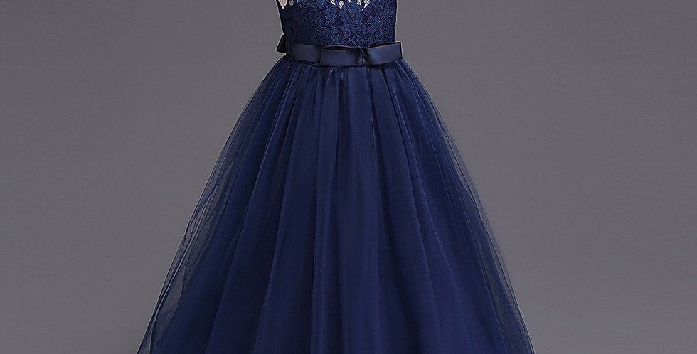 Navy Flower Girl Sleeveless Dress with Lace Top