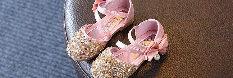 Shining Silver Flower Girls Shoes - Pink