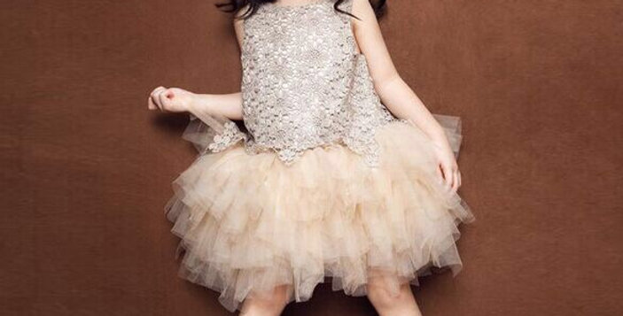 Champagne Irregular Lace Top Princess Dress