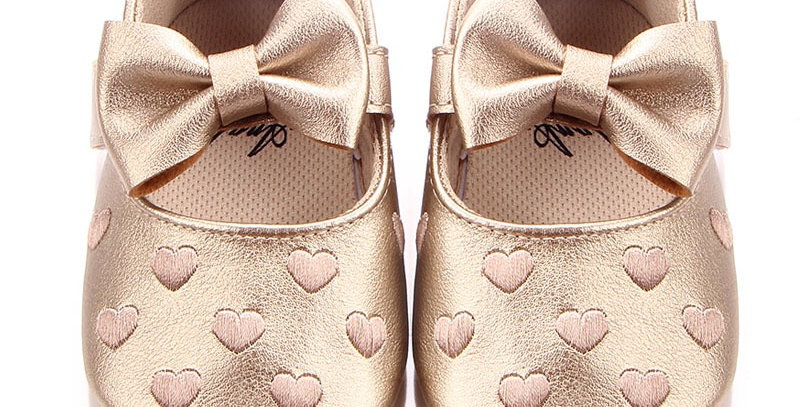 Soft Leather Shoe with Gold Heart