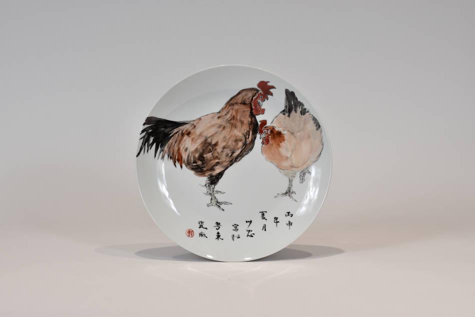 彩釉手繪雙雞大盤