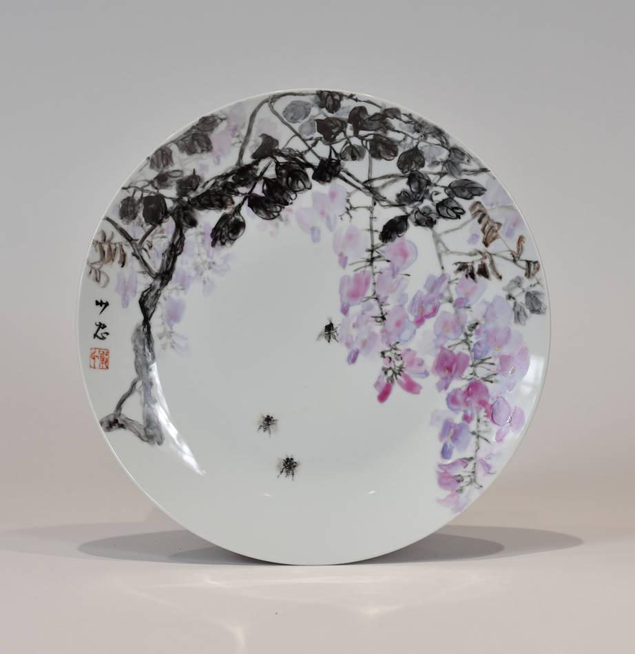 彩釉手繪紫藤蜜蜂大盤
