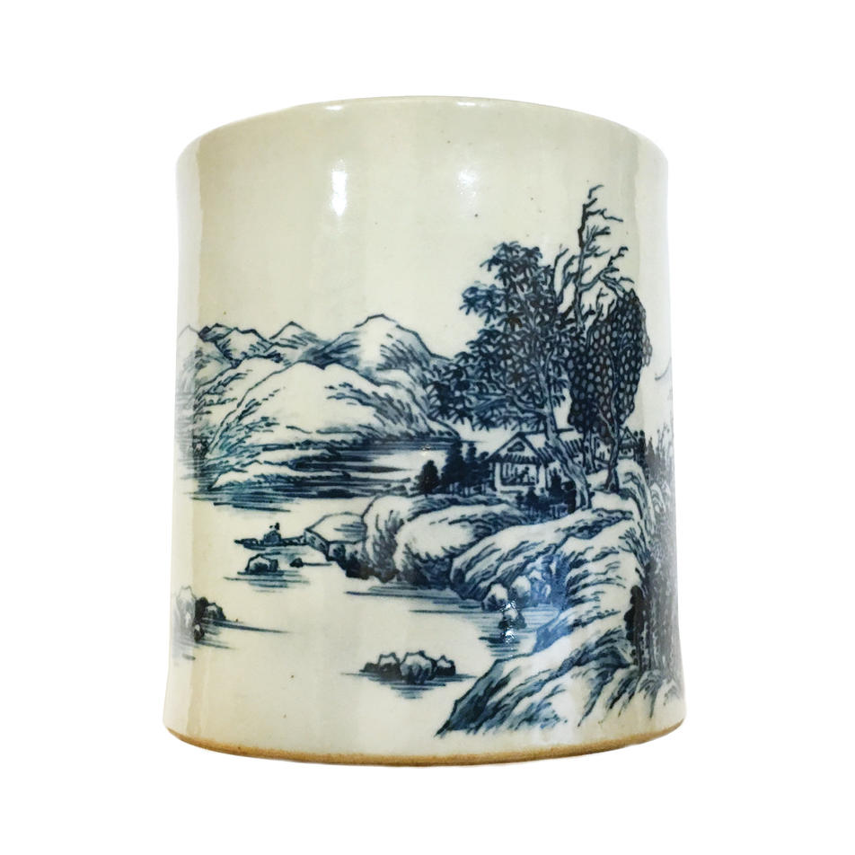 Brushpot with autumn landscape