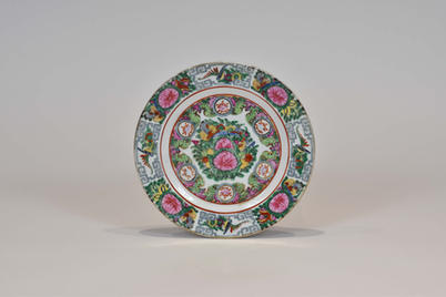 Guangcai dish with painted decoration of roses