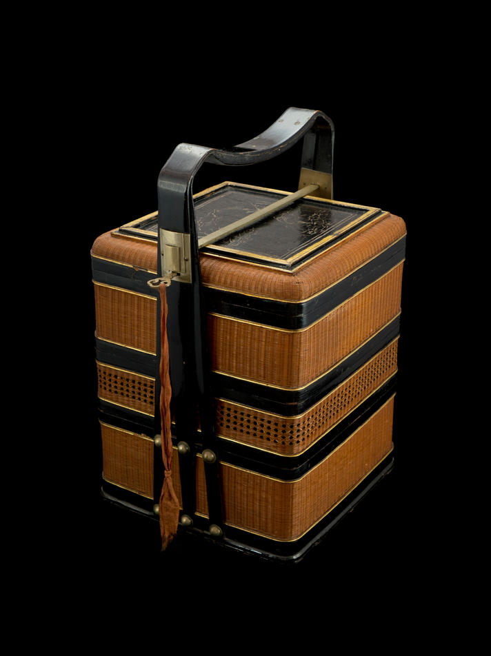 Black lacquer with gold paint three-tiered picnic box with basketry sides