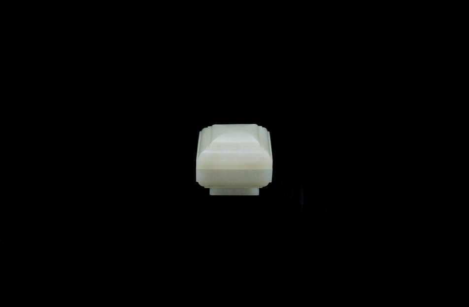 White jade square box and cover