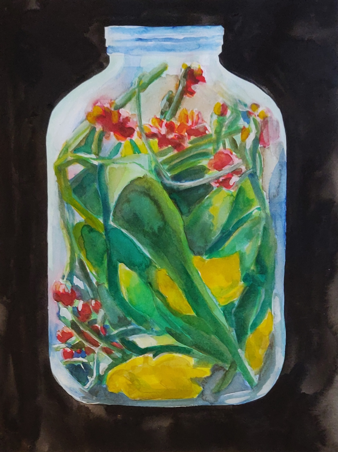 Flowers in a glass jar