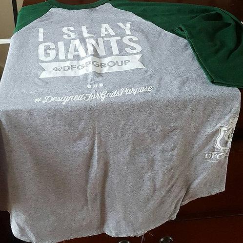 I SLAY GIANTS Rounded Bottom Baseball T-Shirt Grey & Green