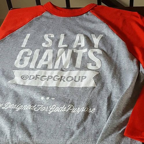 I SLAY GIANTS Rounded Bottom Baseball T-shirt Grey & Red