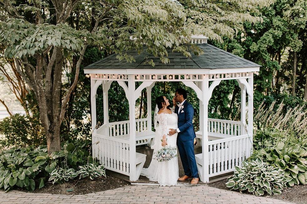 Wedding Gazebo with Bride and Groom