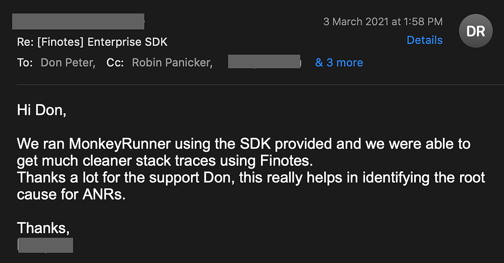 Finotes provides cleaner stack trace that identifies root causes of ANR issues in Android app, says the developer