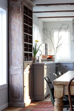 antique cabinet in european kitchen