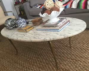 marble coffee table with brass legs
