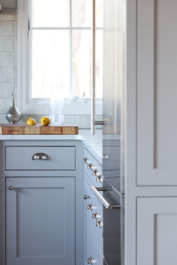 gray inset shaker cabinets with cup pull