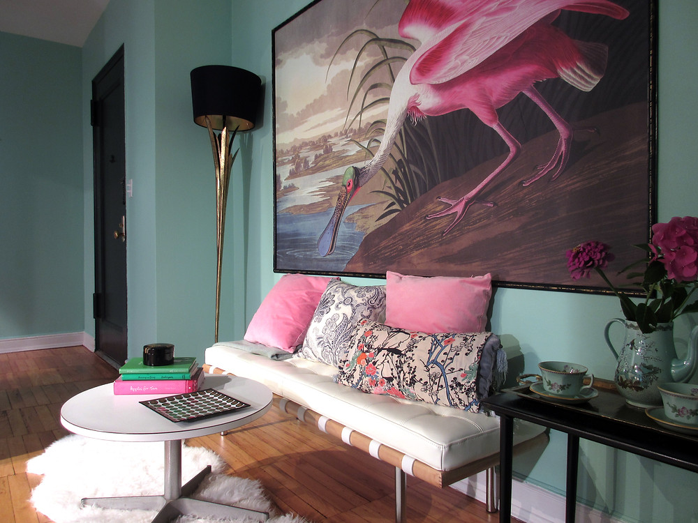 surface view roseate spoonbill mural in sitting room