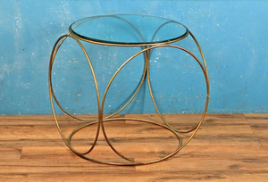 petite glass brass side table