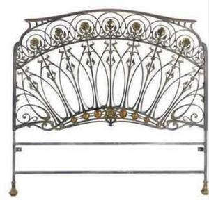 Early 20th-Century French Art Nouveau wrought iron & bronze headboard