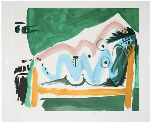 """Picasso, """"ne allongee et tete d'homme,"""" lithograph"""