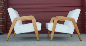 Pair of beautiful white Thonet MCM lounge chairs