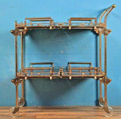 brass collapsible bar cart