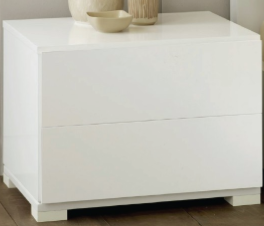 Roma Modern White Lacquer 2-Drawer Nightstand LA FURNITURE