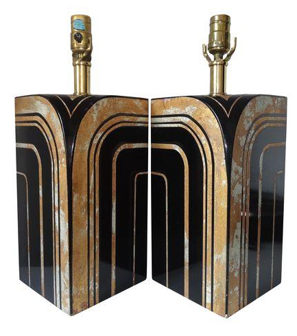 black and gold art deco lamps