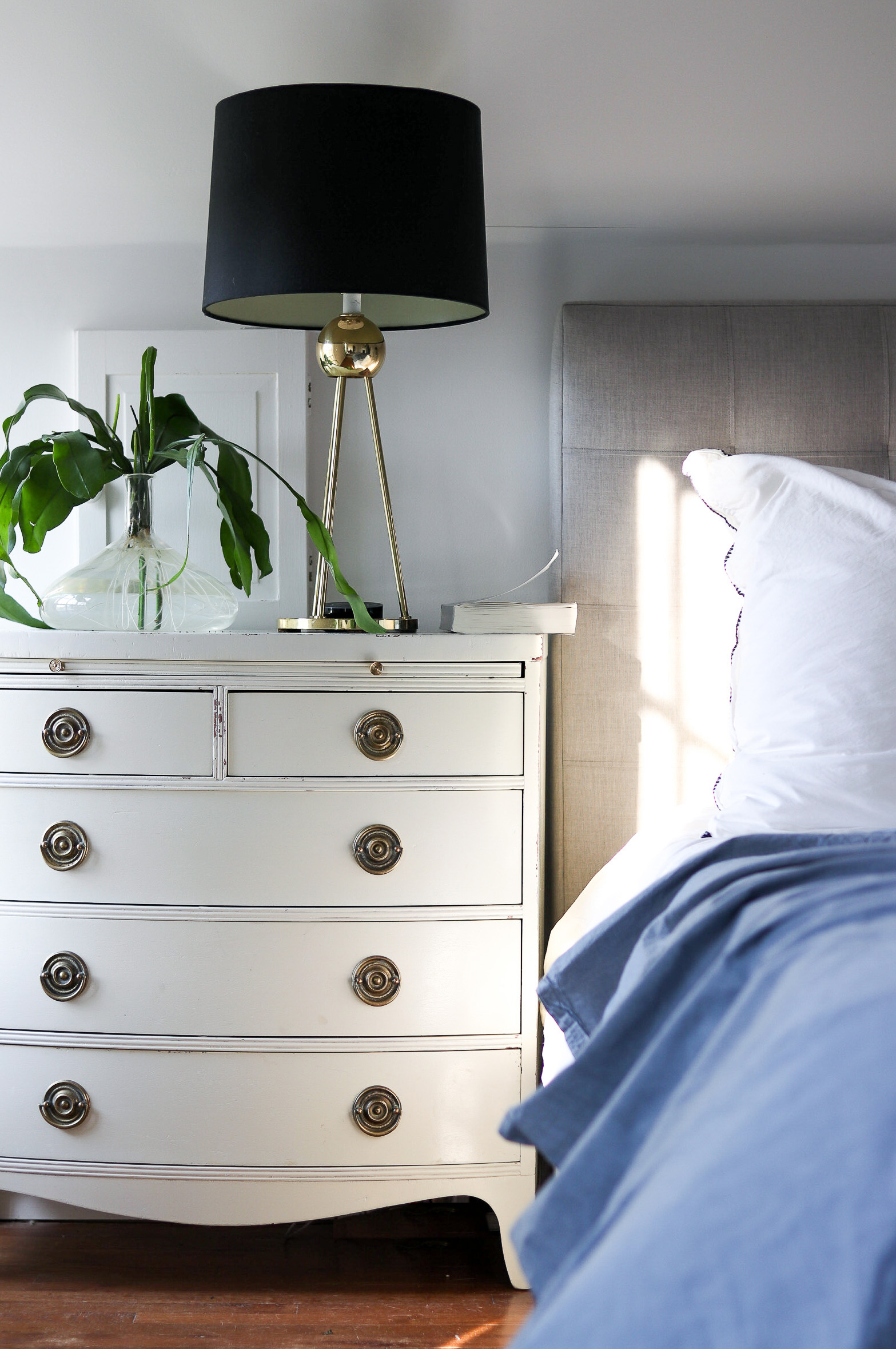 wide nightstands with brass handles