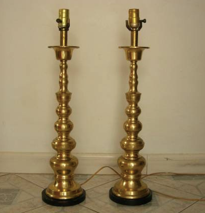 """Brass 24"""" table lamps"""