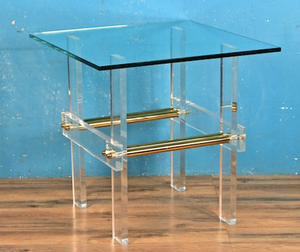 lucite brass end table