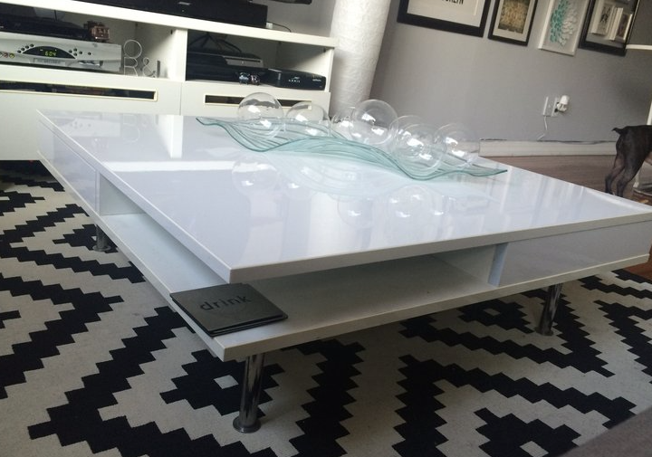 Lacquered white coffee table