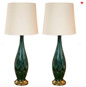 green mid century modern lamps with white shade